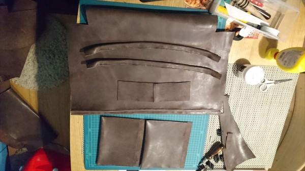 レザークラフト初心者のトートバッグ製作過程1_手縫い